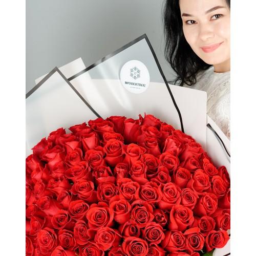 Купить на заказ Букет из 101 красной розы с доставкой в Кандыагаше